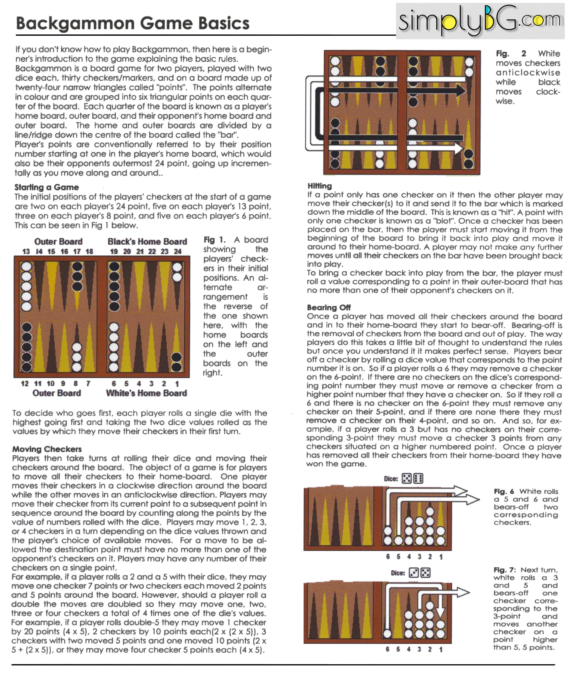 Current image within printable backgammon rules